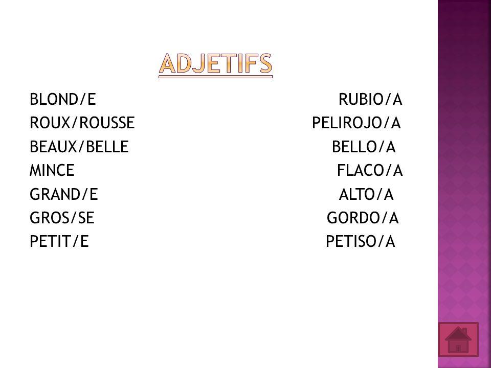 BLOND/E RUBIO/A ROUX/ROUSSE PELIROJO/A BEAUX/BELLE BELLO/A MINCE FLACO/A GRAND/E ALTO/A GROS/SE GORDO/A PETIT/E PETISO/A