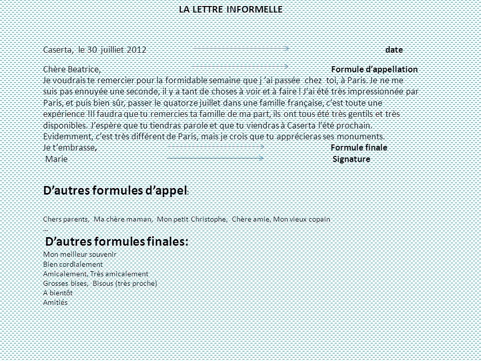 LA LETTRE INFORMELLE Caserta, le 30 juilliet 2012 date Chère Beatrice, Formule dappellation Je voudrais te remercier pour la formidable semaine que j