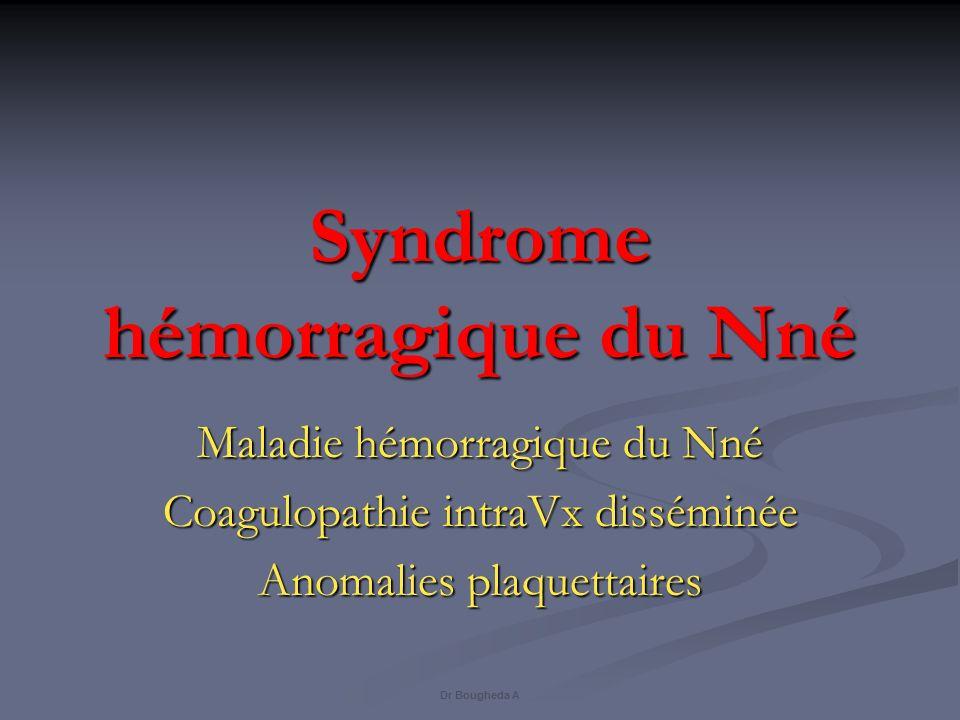 Syndrome hémorragique du Nné Maladie hémorragique du Nné Coagulopathie intraVx disséminée Anomalies plaquettaires Dr Bougheda A