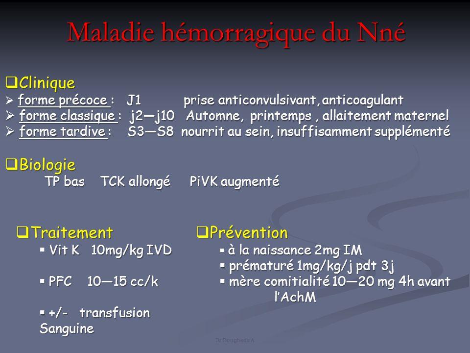 Maladie hémorragique du Nné Traitement Traitement Vit K 10mg/kg IVD PFC 1015 cc/k PFC 1015 cc/k +/- transfusion Sanguine +/- transfusion Sanguine Clin