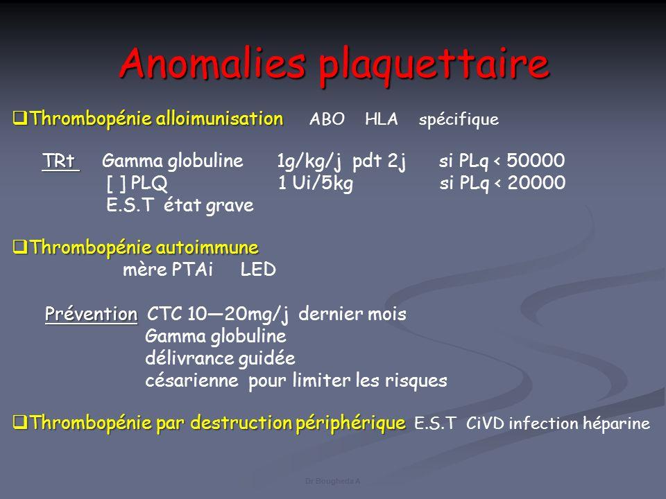 Anomalies plaquettaire Thrombopénie alloimunisation ABO HLA spécifique T Rt Gamma globuline 1g/kg/j pdt 2j si PLq < 50000 [ ] PLQ 1 Ui/5kg si PLq < 20