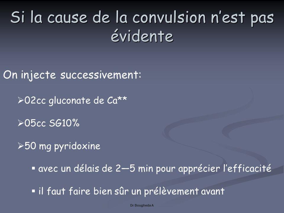 Si la cause de la convulsion nest pas évidente Dr Bougheda A On injecte successivement: 02cc gluconate de Ca** 05cc SG10% 50 mg pyridoxine avec un dél