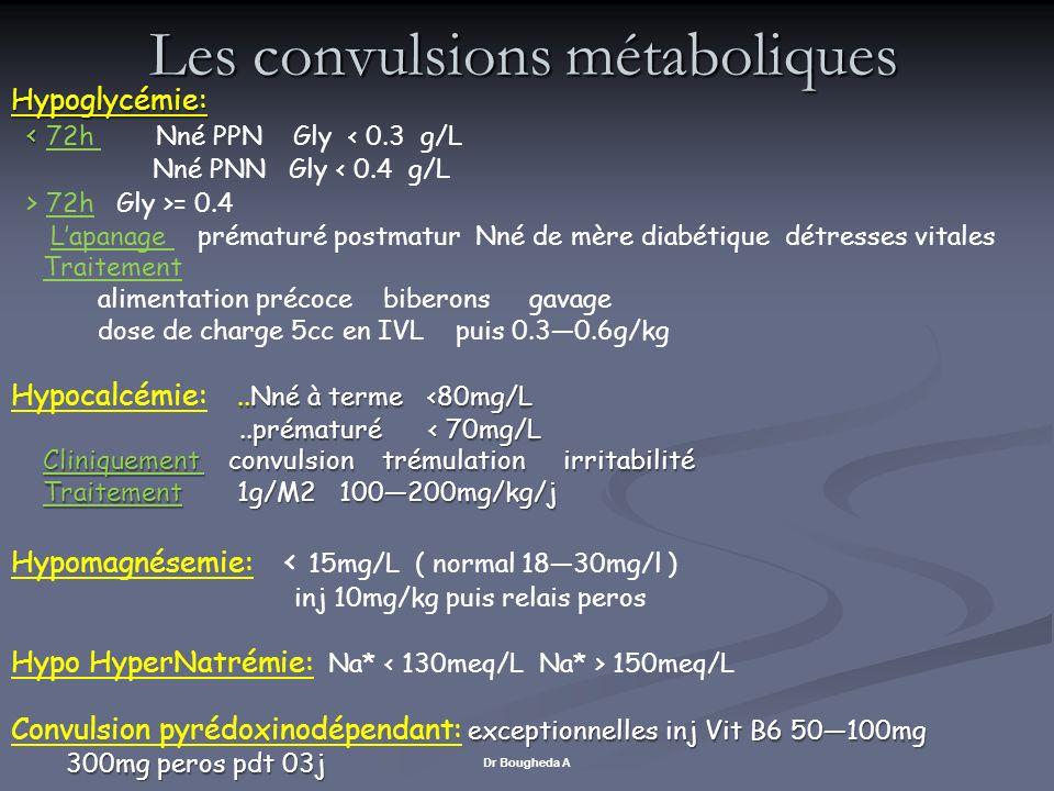 Les convulsions métaboliques Dr Bougheda A Hypoglycémie: < < 72h Nné PPN Gly < 0.3 g/L Nné PNN Gly < 0.4 g/L > 72h Gly >= 0.4 Lapanage prématuré postm