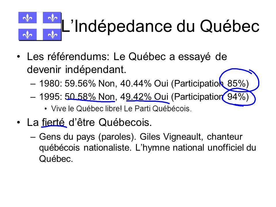 LIndépedance du Québec Les référendums: Le Québec a essayé de devenir indépendant. –1980: 59.56% Non, 40.44% Oui (Participation 85%) –1995: 50.58% Non