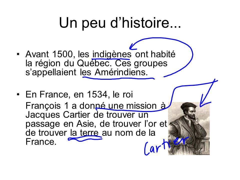 Un peu dhistoire... Avant 1500, les indigènes ont habité la région du Québec. Ces groupes sappellaient les Amérindiens. En France, en 1534, le roi Fra