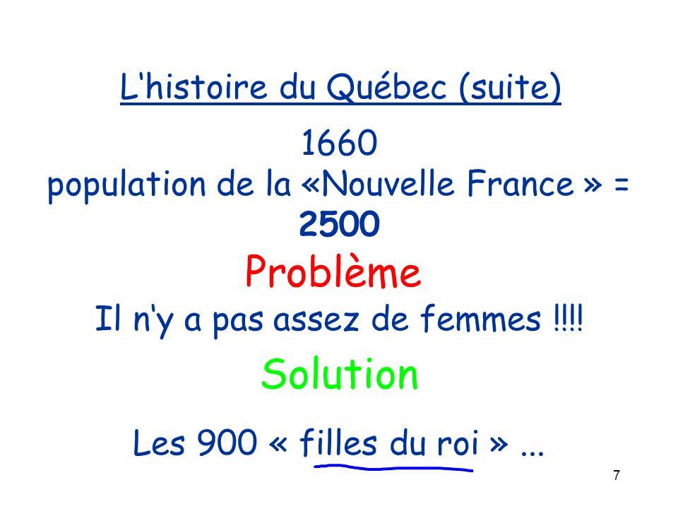 7 Lhistoire du Québec (suite) 1660 population de la «Nouvelle France » = 2500 Problème Il ny a pas assez de femmes !!!! Les 900 « filles du roi »... S