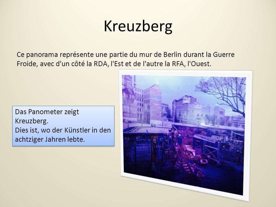 Kreuzberg Ce panorama représente une partie du mur de Berlin durant la Guerre Froide, avec d un côté la RDA, l Est et de l autre la RFA, l Ouest.