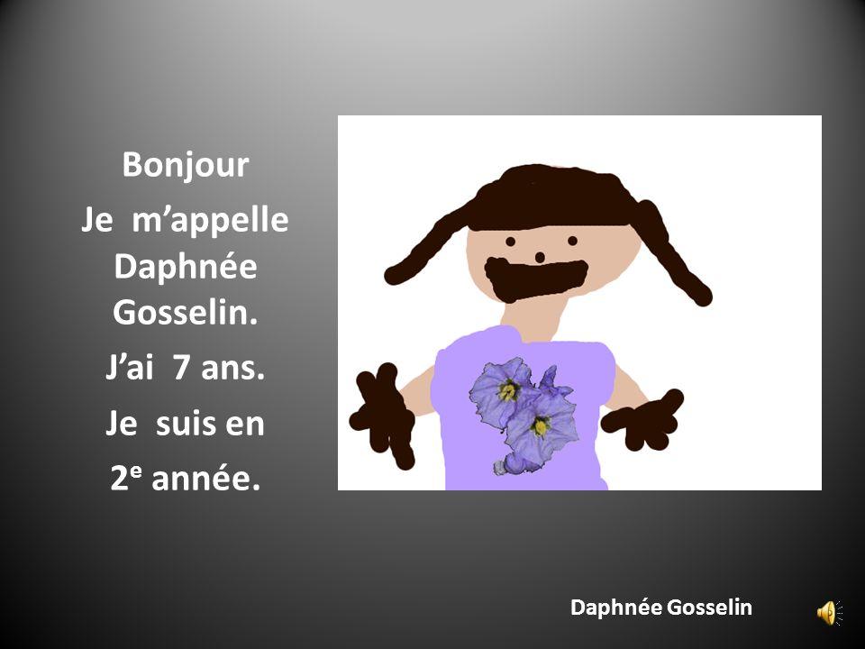 Daphnée Gosselin Bonjour Je mappelle Daphnée Gosselin. Jai 7 ans. Je suis en 2 e année.