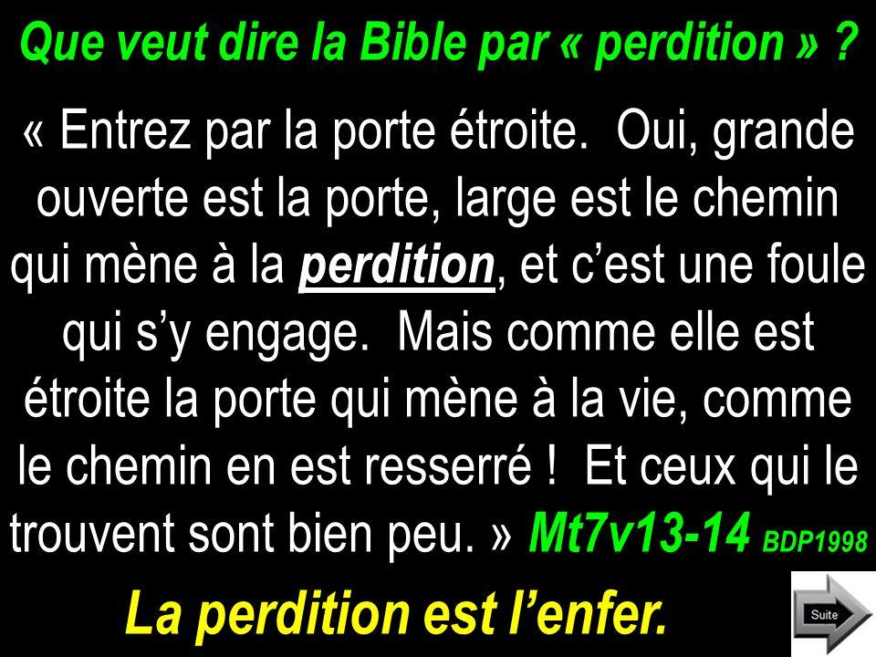 Que veut dire la Bible par « perdition » .« Entrez par la porte étroite.
