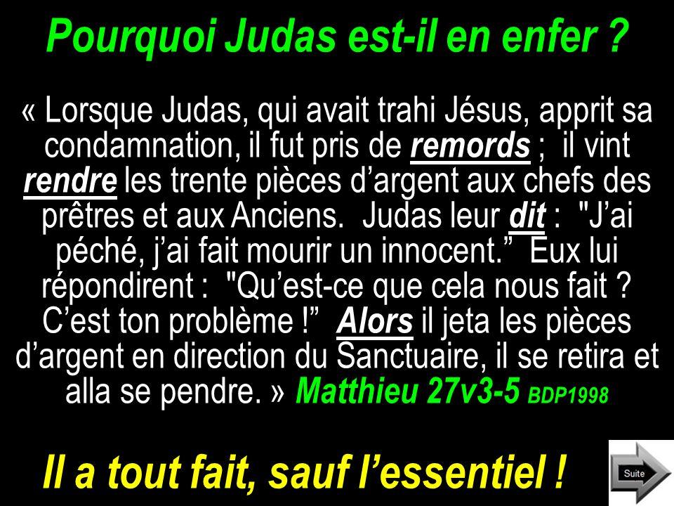 Pourquoi Judas est-il en enfer .