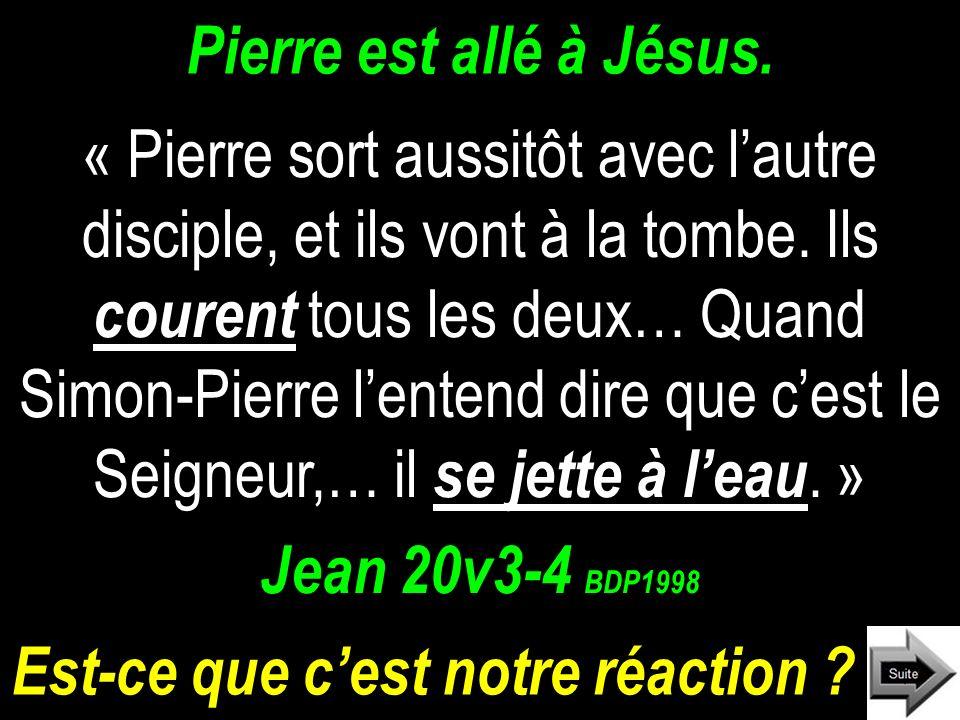 Pierre est allé à Jésus.« Pierre sort aussitôt avec lautre disciple, et ils vont à la tombe.
