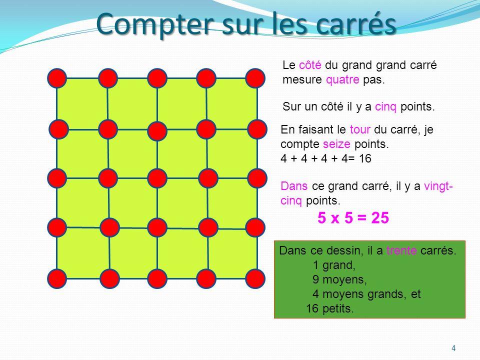 Un carré coupé en quatre 3 Dans ce grand carré, il y a neuf points, trois rangées de 3. 3 x 3 = 9 En faisant le tour du carré, je compte huit points.