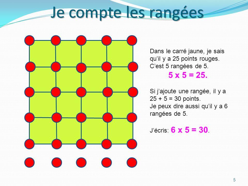 Compter sur les carrés 4 En faisant le tour du carré, je compte seize points. 4 + 4 + 4 + 4= 16 Le côté du grand grand carré mesure quatre pas. Sur un