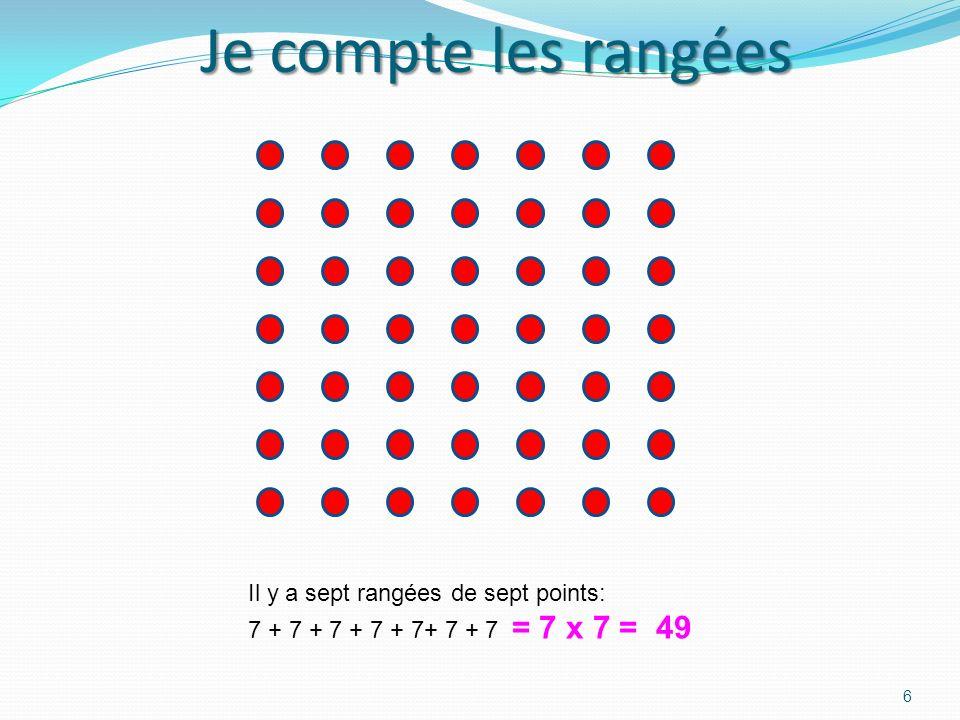 Je compte les rangées 5 Dans le carré jaune, je sais quil y a 25 points rouges. Cest 5 rangées de 5. 5 x 5 = 25. Si jajoute une rangée, il y a 25 + 5