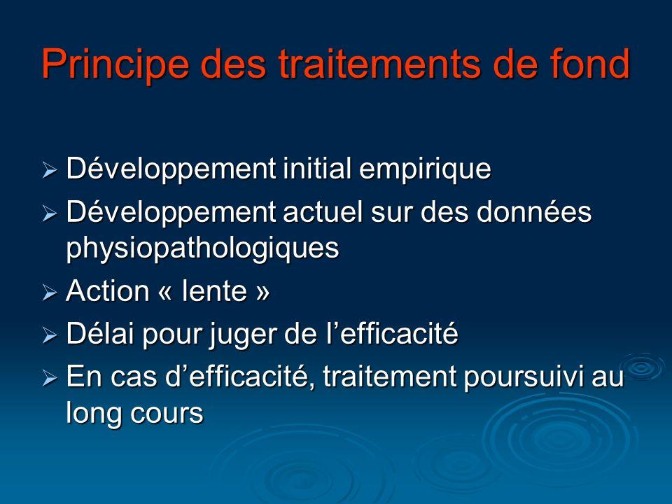 Principe des traitements de fond Développement initial empirique Développement initial empirique Développement actuel sur des données physiopathologiq