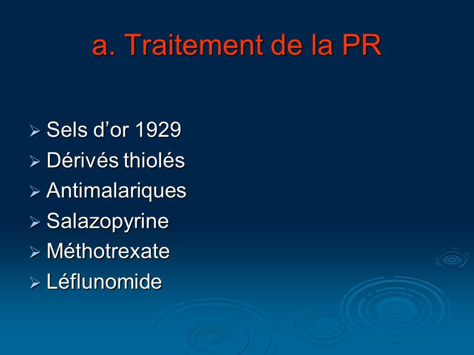 a. Traitement de la PR Sels dor 1929 Sels dor 1929 Dérivés thiolés Dérivés thiolés Antimalariques Antimalariques Salazopyrine Salazopyrine Méthotrexat
