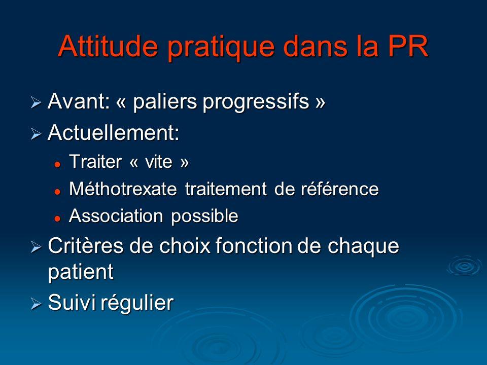 Attitude pratique dans la PR Avant: « paliers progressifs » Avant: « paliers progressifs » Actuellement: Actuellement: Traiter « vite » Traiter « vite
