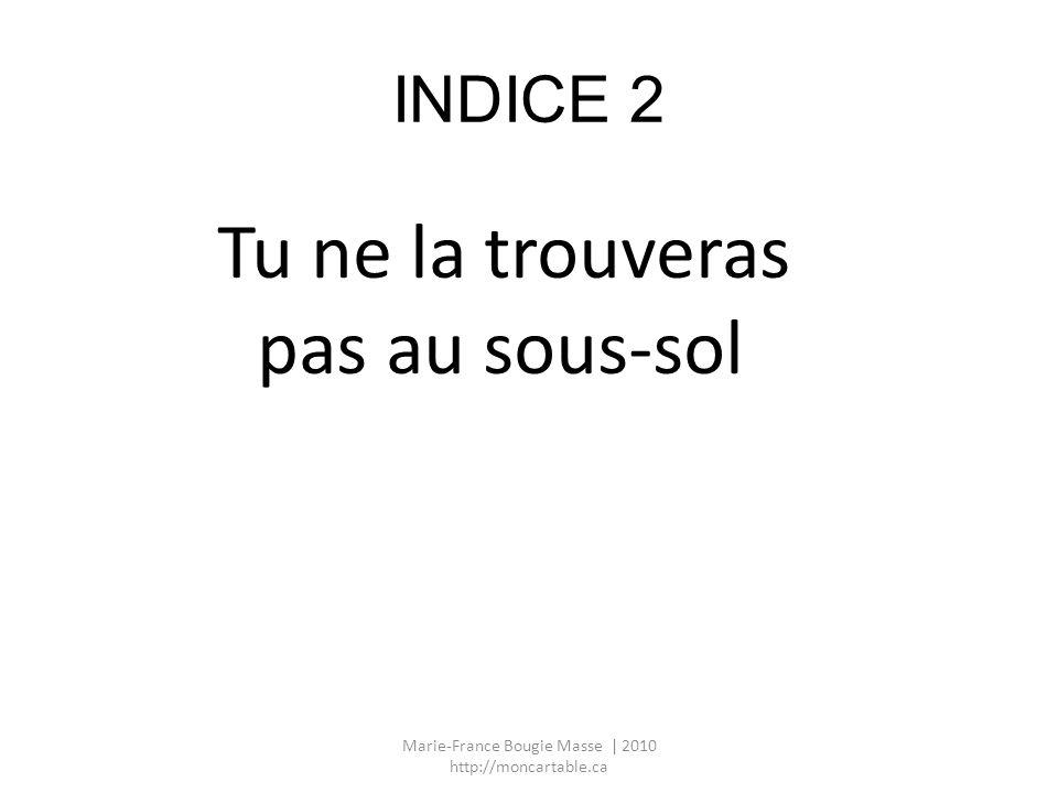 INDICE 2 Tu ne la trouveras pas au sous-sol Marie-France Bougie Masse | 2010 http://moncartable.ca