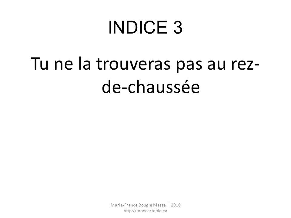 INDICE 3 Tu ne la trouveras pas au rez- de-chaussée Marie-France Bougie Masse | 2010 http://moncartable.ca