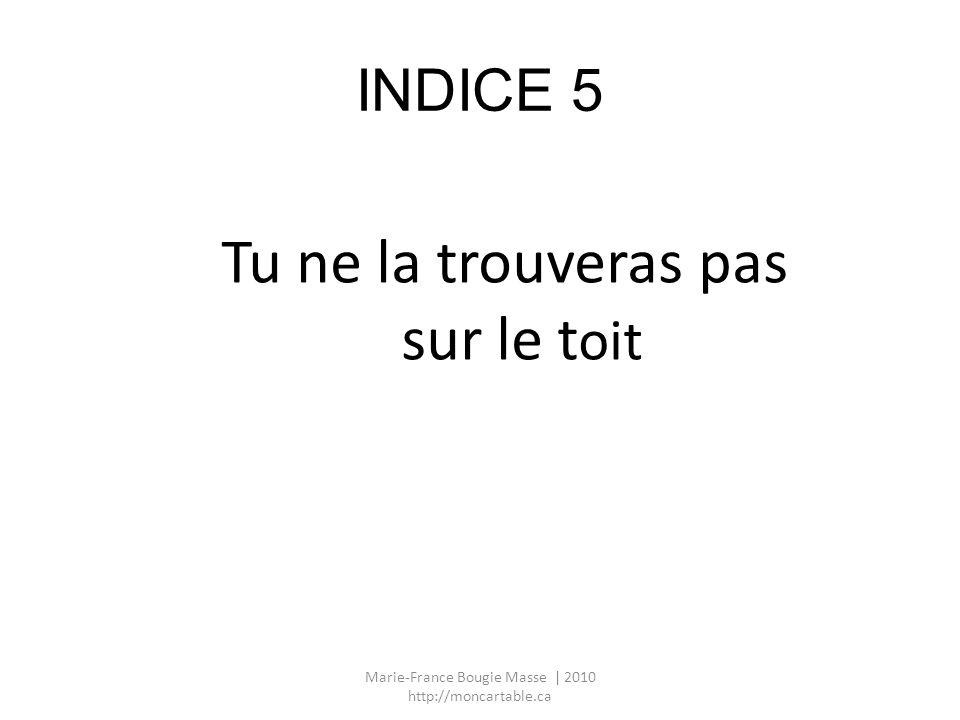 INDICE 5 Tu ne la trouveras pas sur le t oit Marie-France Bougie Masse | 2010 http://moncartable.ca