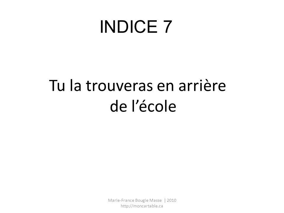 INDICE 7 Tu la trouveras en arrière de lécole Marie-France Bougie Masse | 2010 http://moncartable.ca