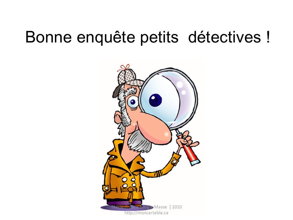 Nos outils de détective La loupe pour observer Le cerveau pour la mémoire Le carnet pour écrire La calculatrice pour compter Marie-France Bougie Masse | 2010 http://moncartable.ca