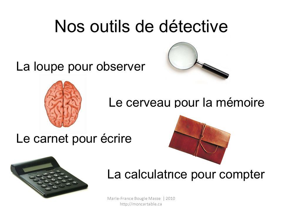 Nos outils de détective La loupe pour observer Le cerveau pour la mémoire Le carnet pour écrire La calculatrice pour compter Marie-France Bougie Masse