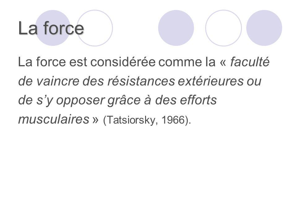 La force La force est considérée comme la « faculté de vaincre des résistances extérieures ou de sy opposer grâce à des efforts musculaires » (Tatsiorsky, 1966).