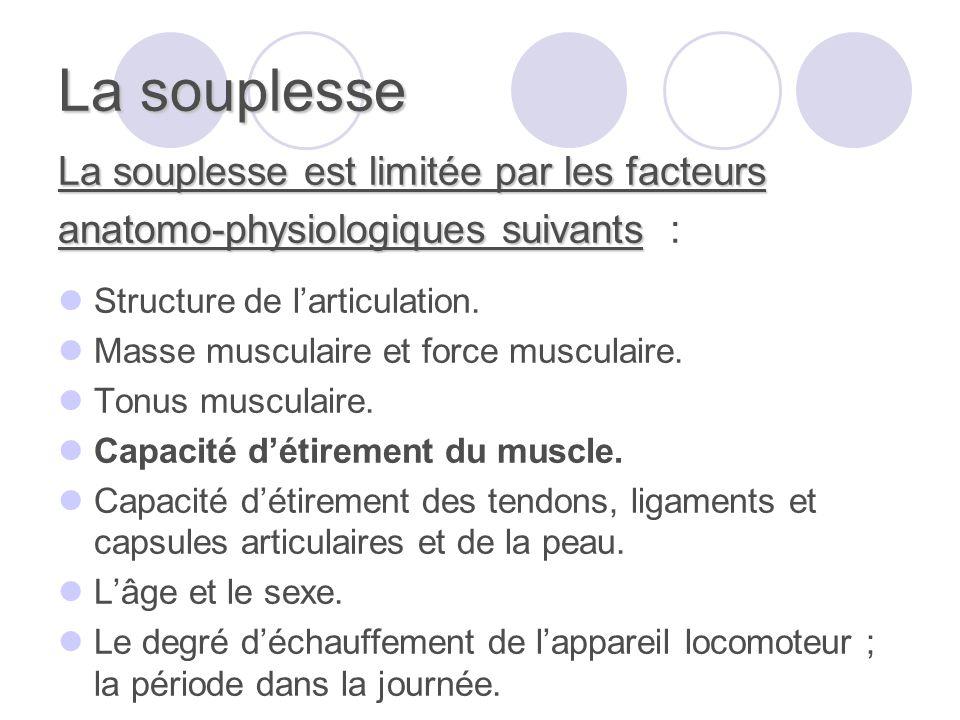 La souplesse La souplesse est limitée par les facteurs anatomo-physiologiques suivants anatomo-physiologiques suivants : Structure de larticulation.
