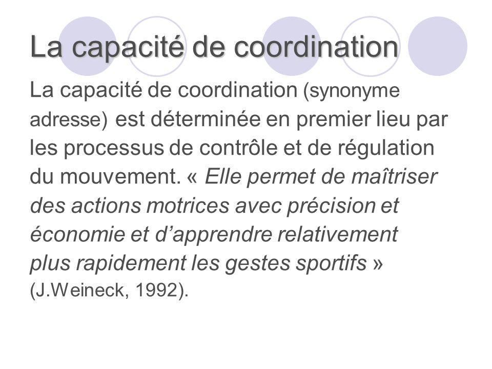 La capacité de coordination La capacité de coordination (synonyme adresse) est déterminée en premier lieu par les processus de contrôle et de régulation du mouvement.