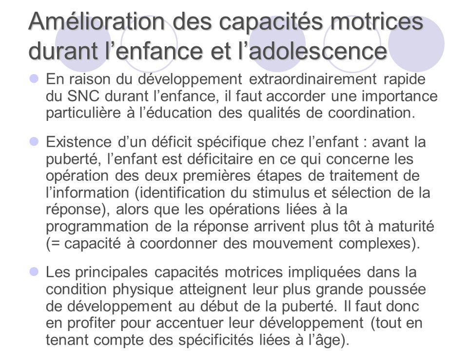 Amélioration des capacités motrices durant lenfance et ladolescence En raison du développement extraordinairement rapide du SNC durant lenfance, il faut accorder une importance particulière à léducation des qualités de coordination.
