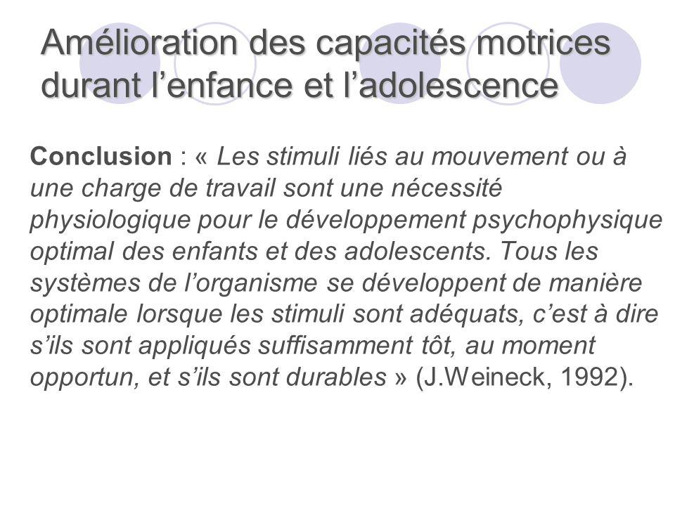 Amélioration des capacités motrices durant lenfance et ladolescence Conclusion : « Les stimuli liés au mouvement ou à une charge de travail sont une n