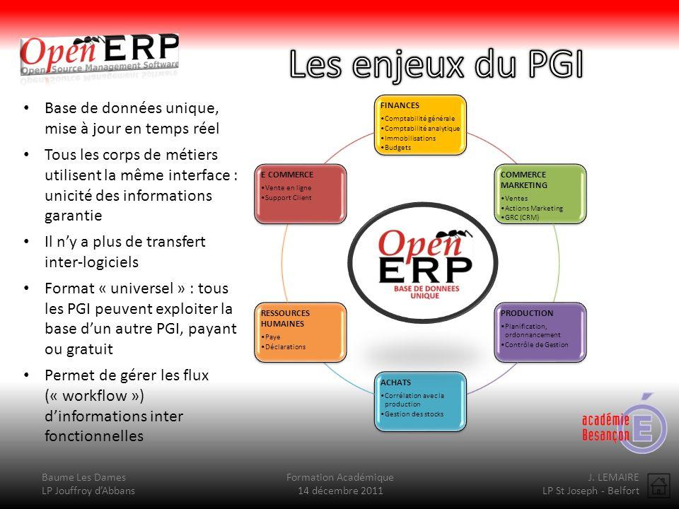 Baume Les Dames LP Jouffroy dAbbans Formation Académique 14 décembre 2011 J. LEMAIRE LP St Joseph - Belfort FINANCES Comptabilité générale Comptabilit