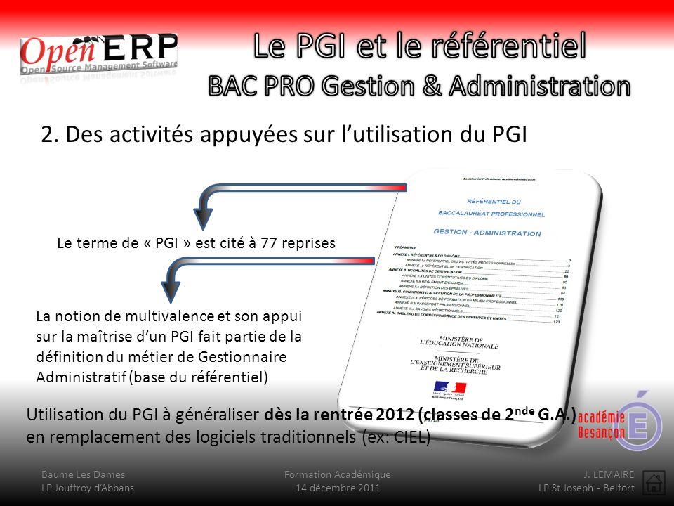 Baume Les Dames LP Jouffroy dAbbans Formation Académique 14 décembre 2011 J.