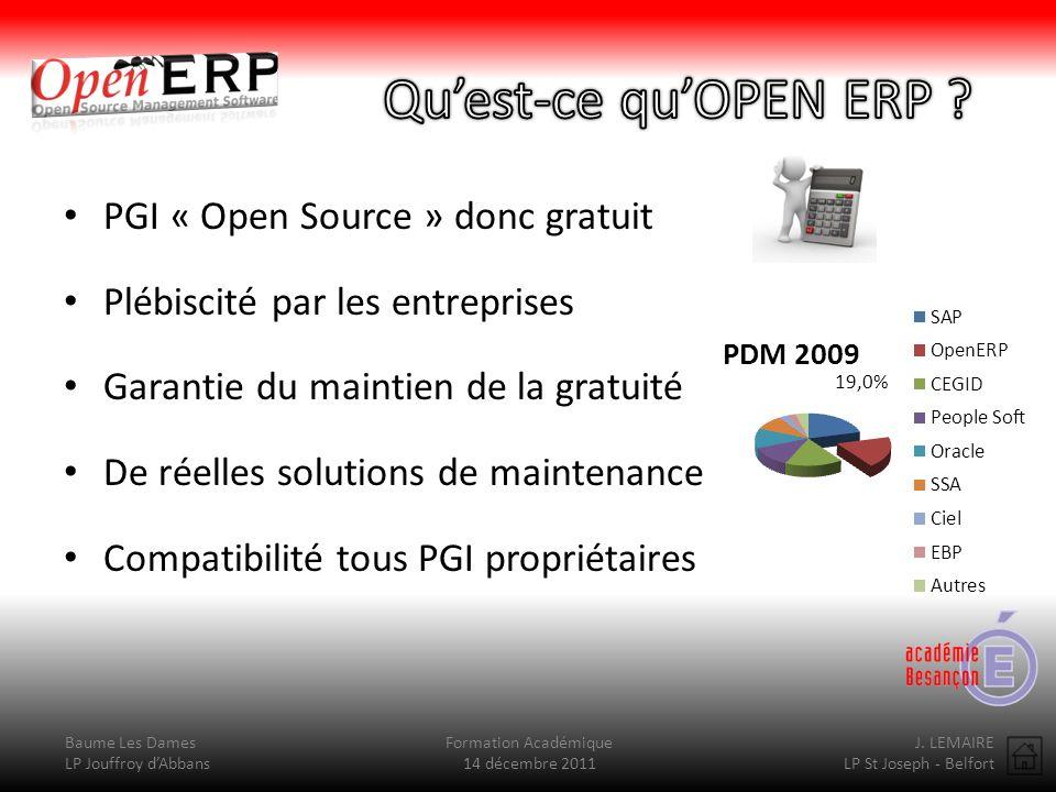 Baume Les Dames LP Jouffroy dAbbans Formation Académique 14 décembre 2011 J. LEMAIRE LP St Joseph - Belfort PGI « Open Source » donc gratuit Plébiscit