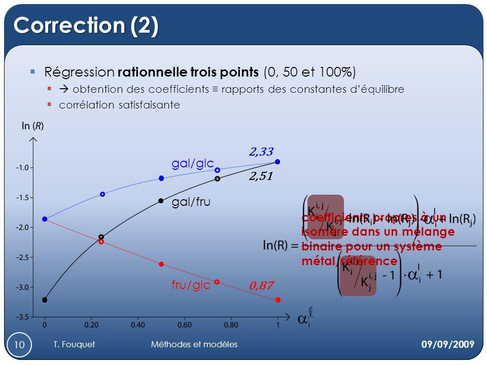 Correction (2) Régression rationnelle trois points (0, 50 et 100%) obtention des coefficients rapports des constantes déquilibre corrélation satisfaisante gal/fru fru/glc gal/glc 2,33 0,87 2,51 coefficients propres à un isomère dans un mélange binaire pour un système métal/référence 09/09/2009 10 T.