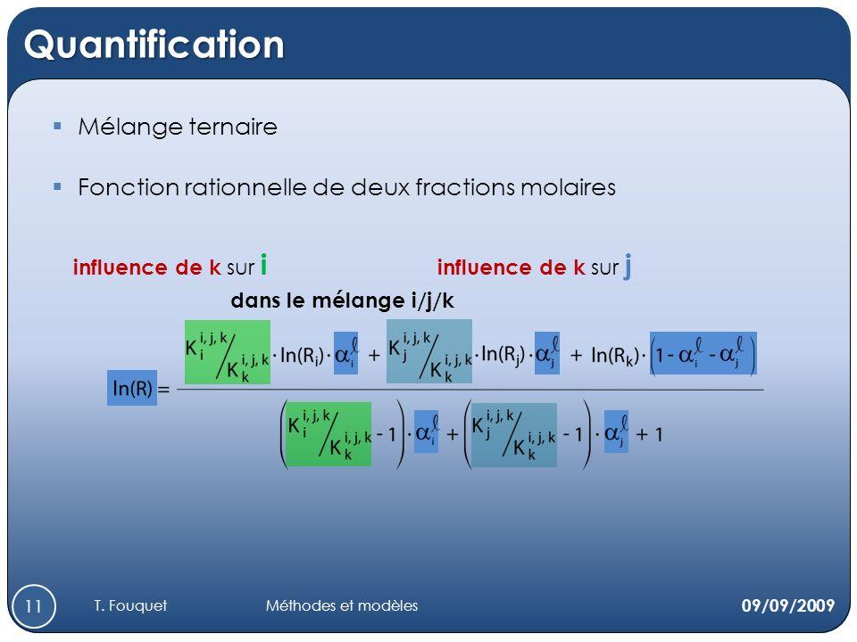 Quantification Mélange ternaire Fonction rationnelle de deux fractions molaires influence de k sur i dans le mélange i/j/k influence de k sur j 09/09/2009 11 T.