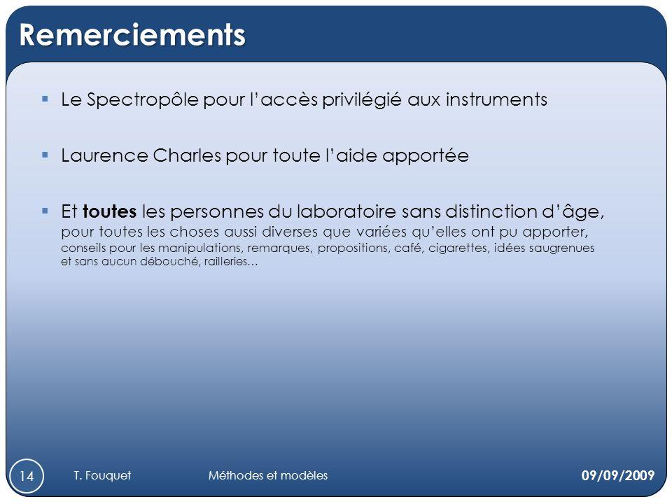 Remerciements 09/09/2009 14 Le Spectropôle pour laccès privilégié aux instruments Laurence Charles pour toute laide apportée Et toutes les personnes d