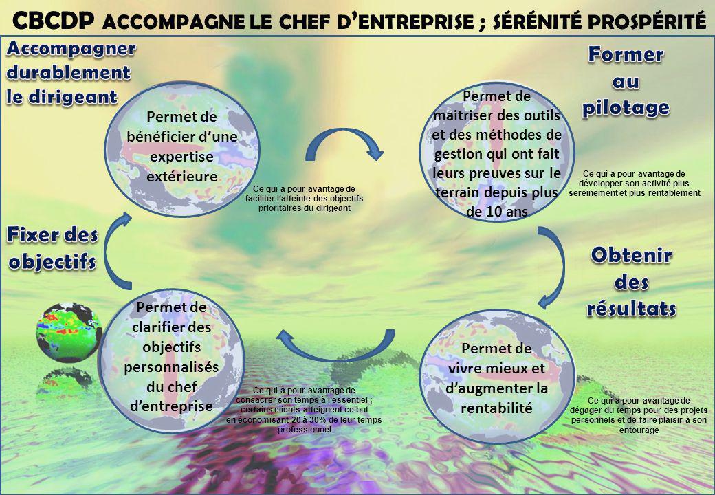 CBCDP ACCOMPAGNE LE CHEF D ENTREPRISE ; SÉRÉNITÉ PROSPÉRITÉ Ce qui a pour avantage de développer son activité plus sereinement et plus rentablement Ce