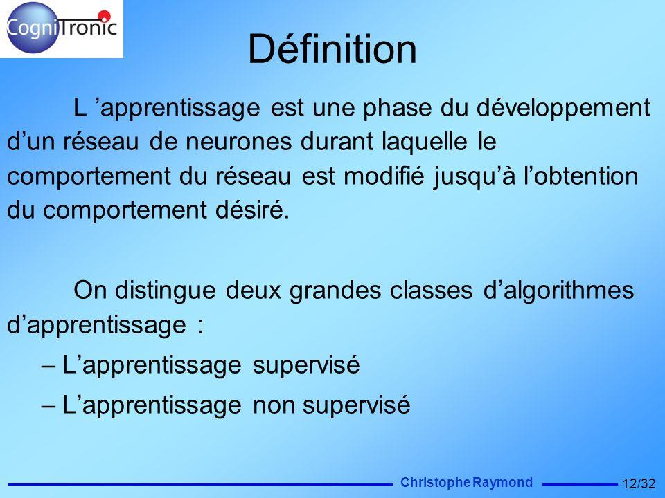 Christophe Raymond 12/32 Définition L apprentissage est une phase du développement dun réseau de neurones durant laquelle le comportement du réseau es