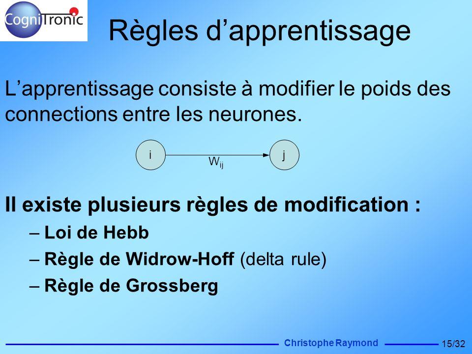 Christophe Raymond 15/32 Règles dapprentissage Lapprentissage consiste à modifier le poids des connections entre les neurones. Il existe plusieurs règ