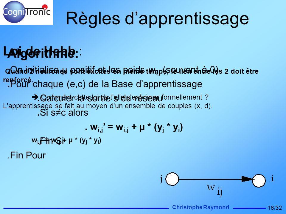 Christophe Raymond 16/32 Loi de Hebb : Quand 2 neurones sont excités en même temps, le lien entre les 2 doit être renforcé. Comment cette loi va t'ell