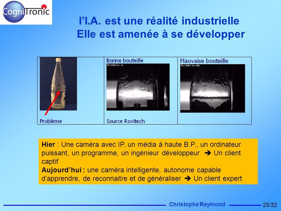 Christophe Raymond 25/32 Hier : Une caméra avec IP, un média à haute B.P., un ordinateur puissant, un programme, un ingénieur développeur Un client ca