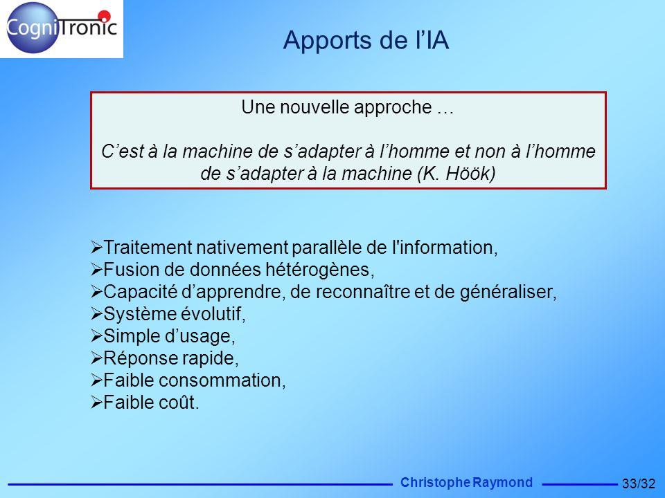 Christophe Raymond 33/32 Apports de lIA Traitement nativement parallèle de l'information, Fusion de données hétérogènes, Capacité dapprendre, de recon