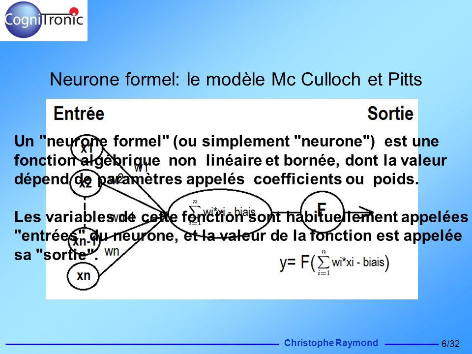 Christophe Raymond 6/32 Neurone formel: le modèle Mc Culloch et Pitts Un