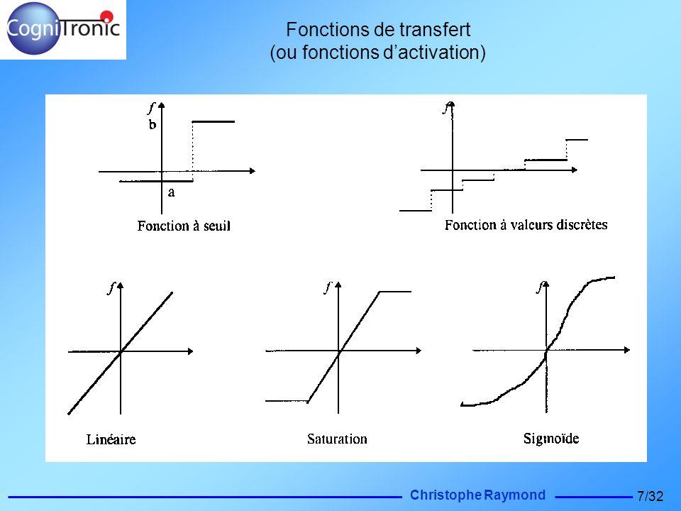 Christophe Raymond 7/32 Fonctions de transfert (ou fonctions dactivation)
