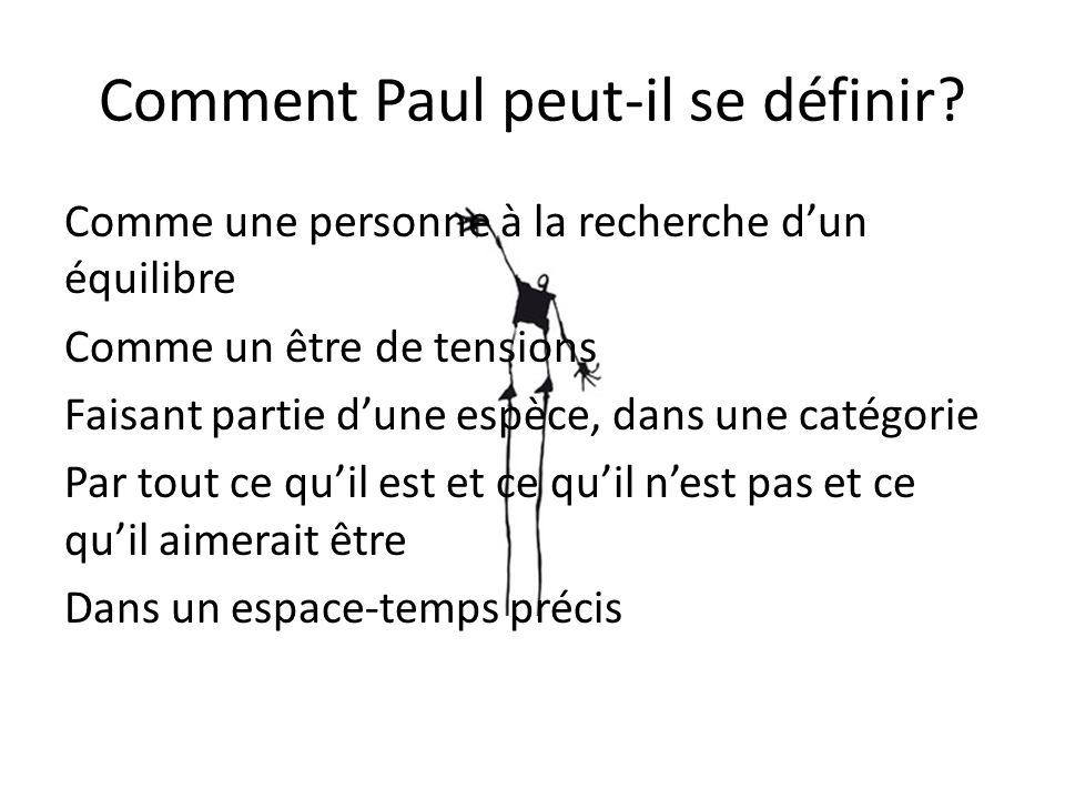 Comment Paul peut-il se définir? Comme une personne à la recherche dun équilibre Comme un être de tensions Faisant partie dune espèce, dans une catégo
