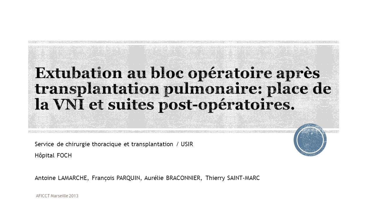 Service de chirurgie thoracique et transplantation / USIR Hôpital FOCH Antoine LAMARCHE, François PARQUIN, Aurélie BRACONNIER, Thierry SAINT-MARC AFIC