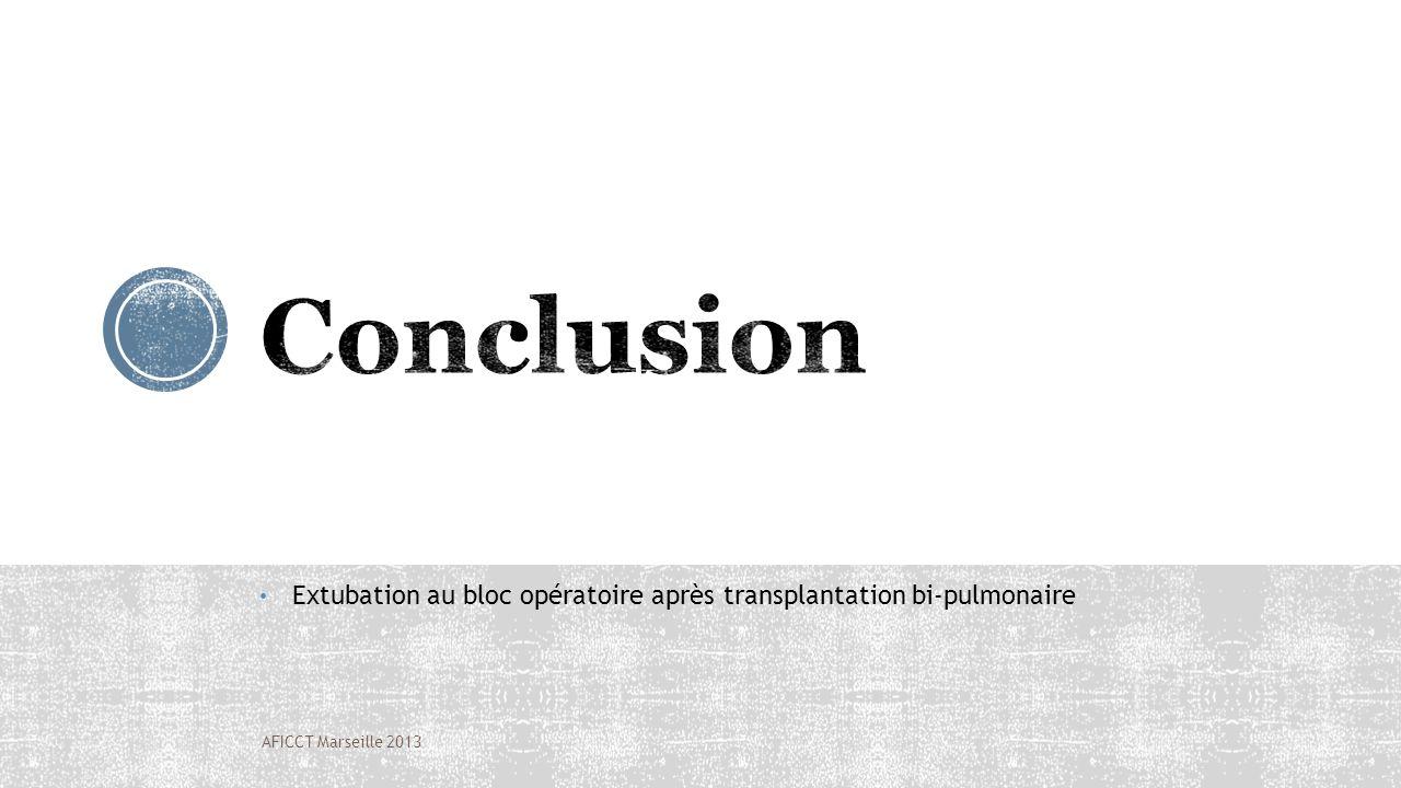 Extubation au bloc opératoire après transplantation bi-pulmonaire AFICCT Marseille 2013