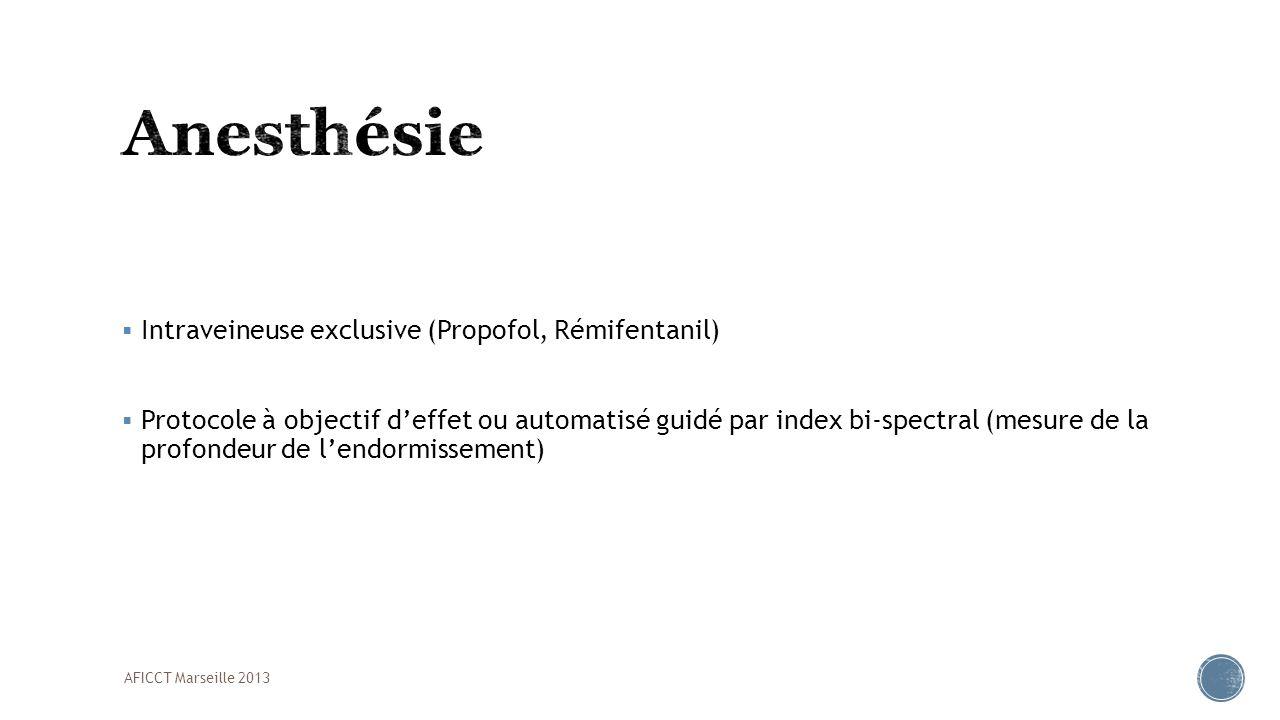 Intraveineuse exclusive (Propofol, Rémifentanil) Protocole à objectif deffet ou automatisé guidé par index bi-spectral (mesure de la profondeur de len
